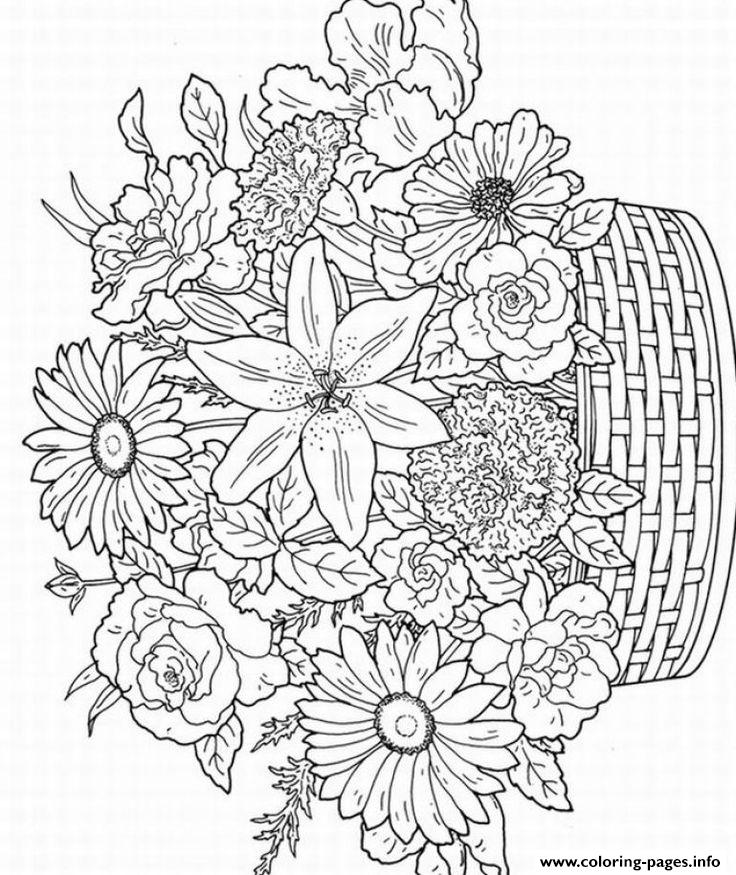 Flowers Adults Difficults coloring pages