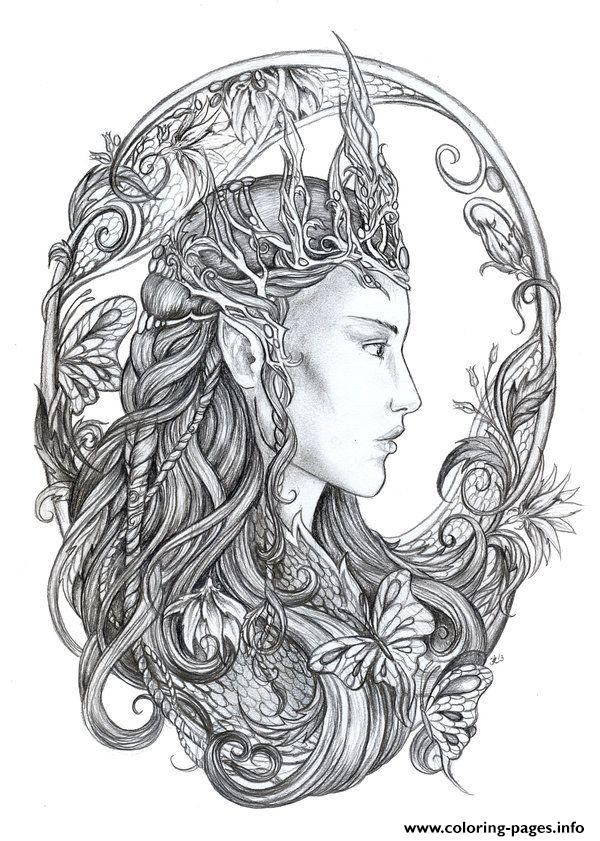 Hd Difficult Fairie Adult Coloring Pages
