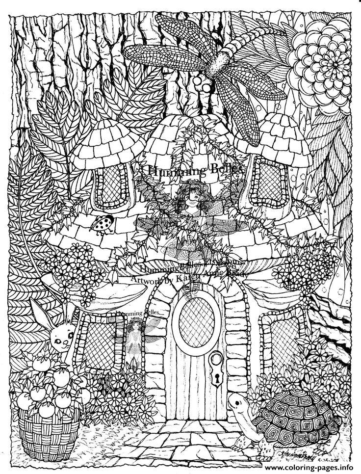 Difficult Fairies House Coloring Pages Printable