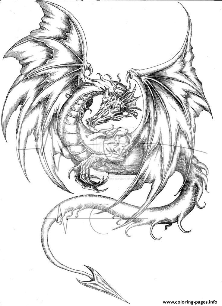 Adults Difficult Animals Dragons Printable Free Coloring Pages