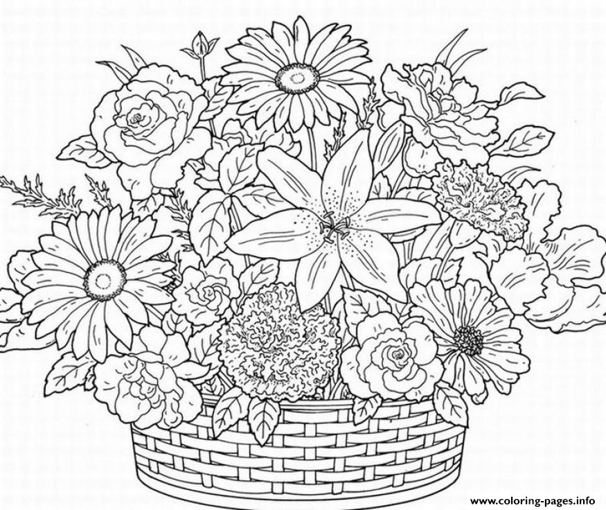 Cute Flower Adult Coloring Pages Printable