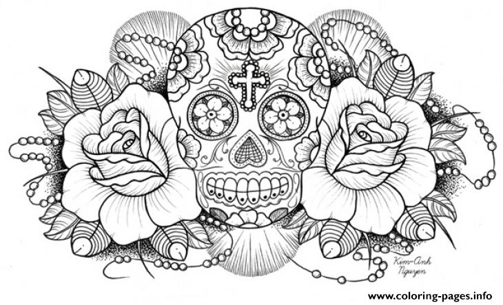 Very Difficult Sugar Skull For Adults Coloring Pages Printable