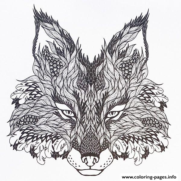 adults difficult animals wolf hd color coloring pages printable