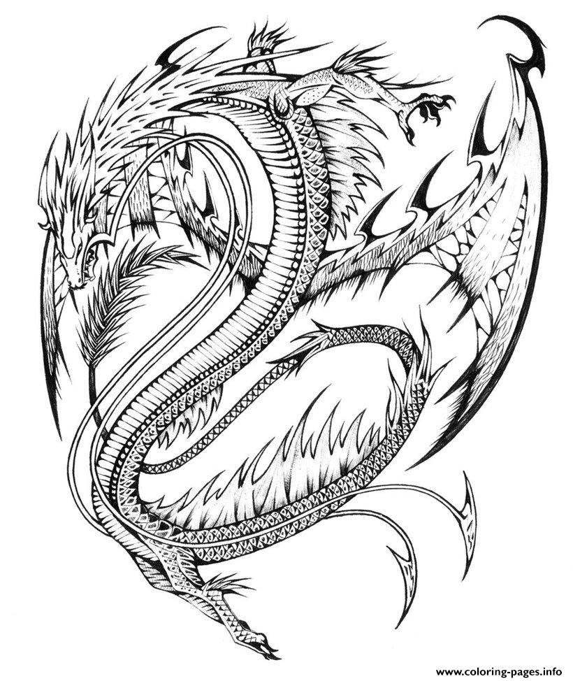 Colouring sheets hard - Adults Difficult Dragons Coloring Pages