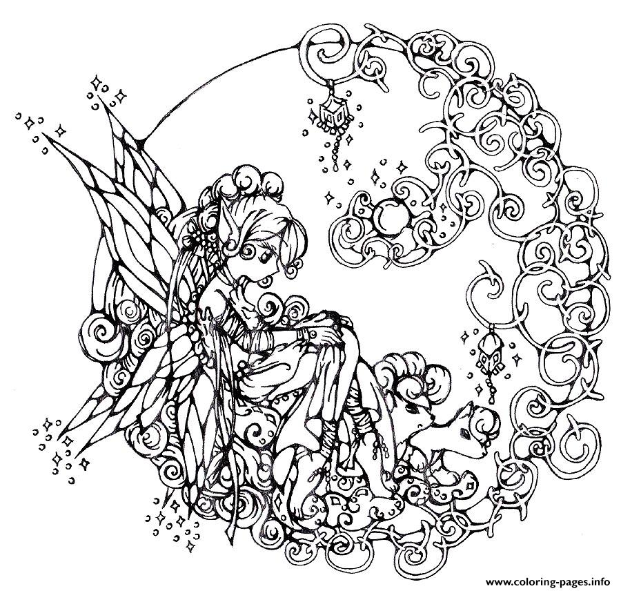 Difficult Flower Fairie Coloring Pages Printable