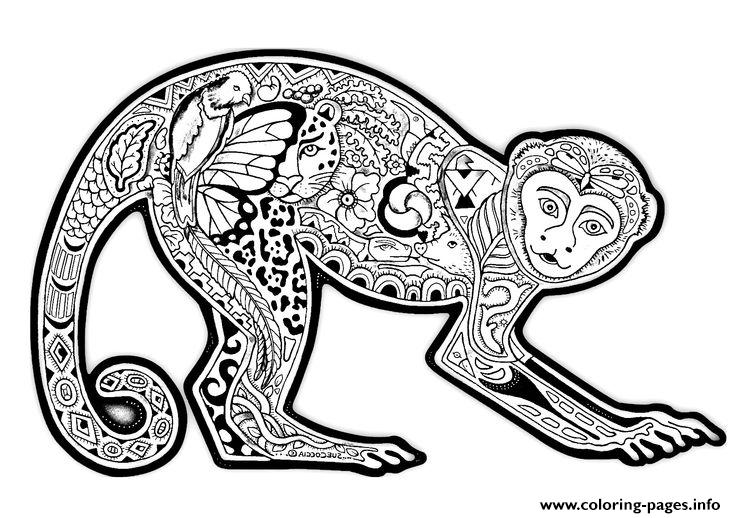 Adults Difficult Animals Cute Monkey Free Printable Coloring Pages ...