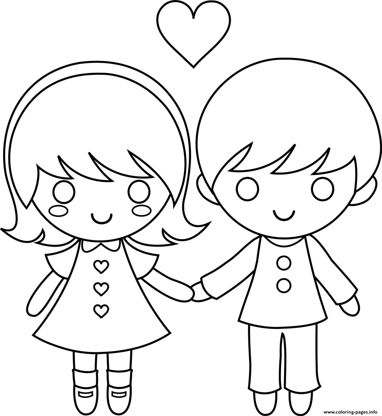 Kids Couple Valentine 6277 Coloring Pages Printable