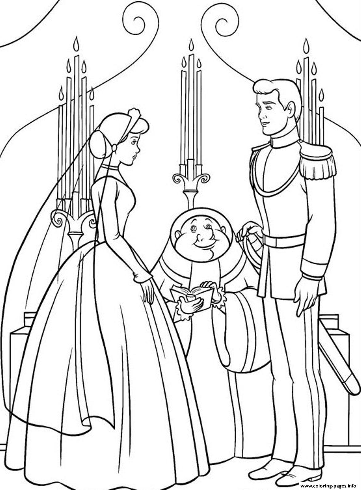 Princess Married With Prince Cinderella S For Kids3474 Coloring ...