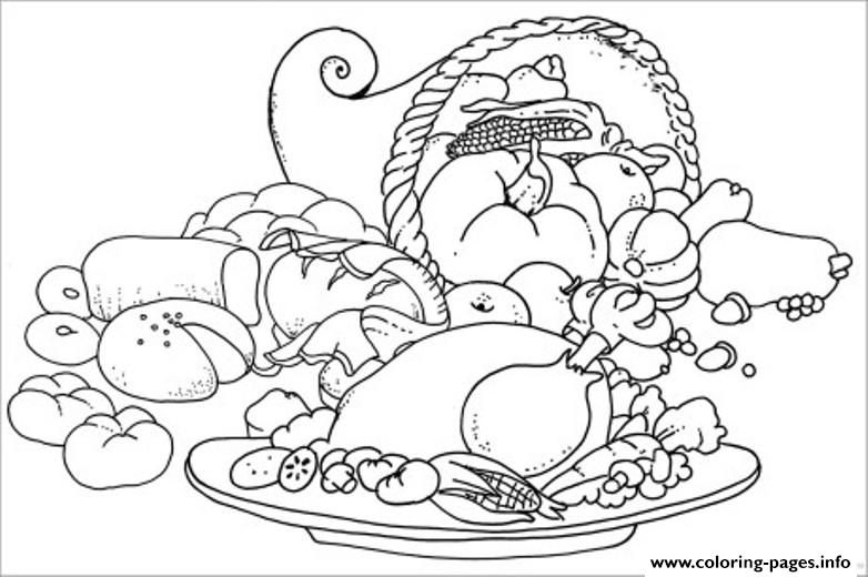 Coloring Pages For Kids Thanksgiving Meal And Cornucopia2144