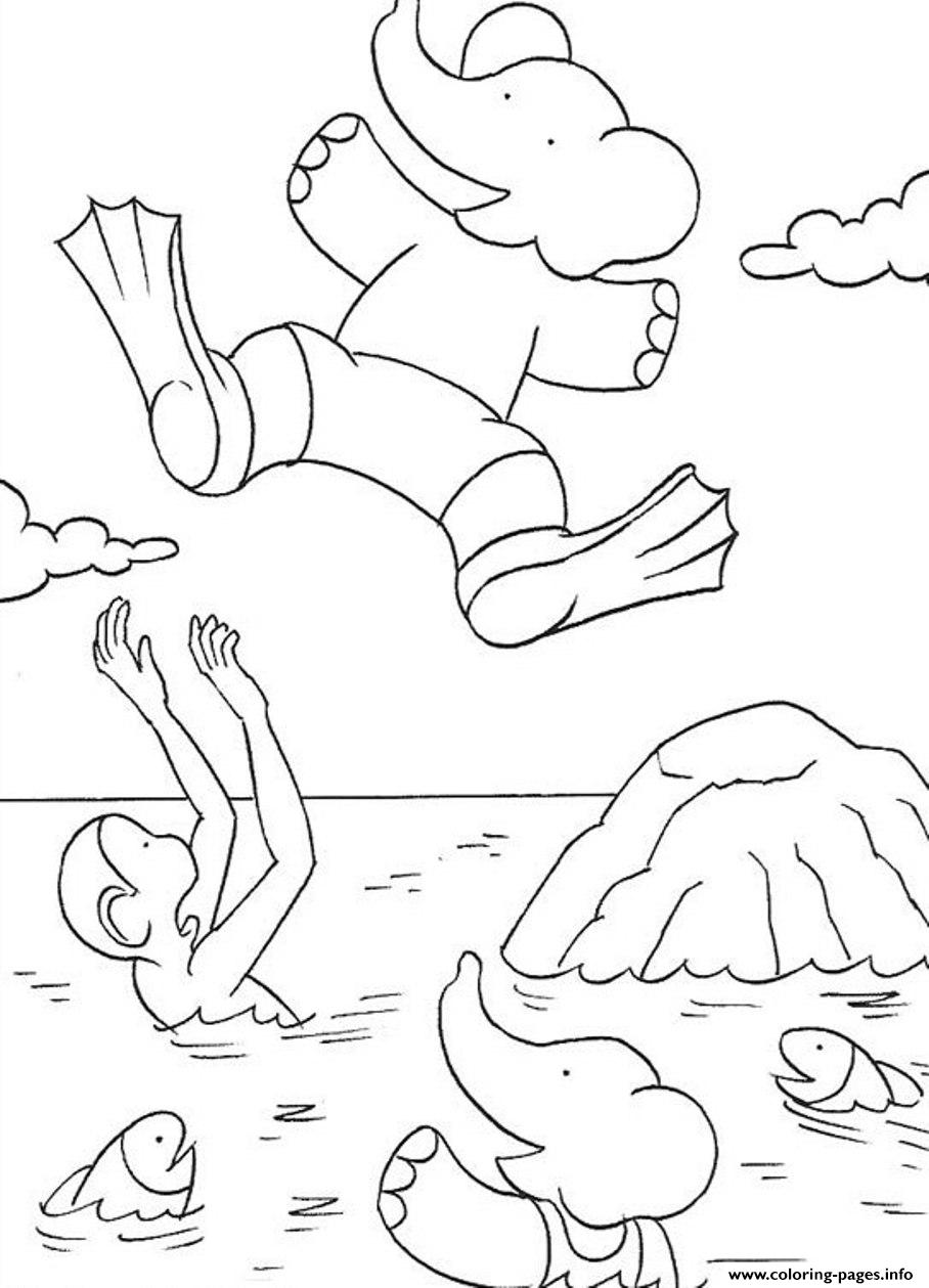 Babar Jumping Into The Sea Cartoon S For Kids0a60 Coloring