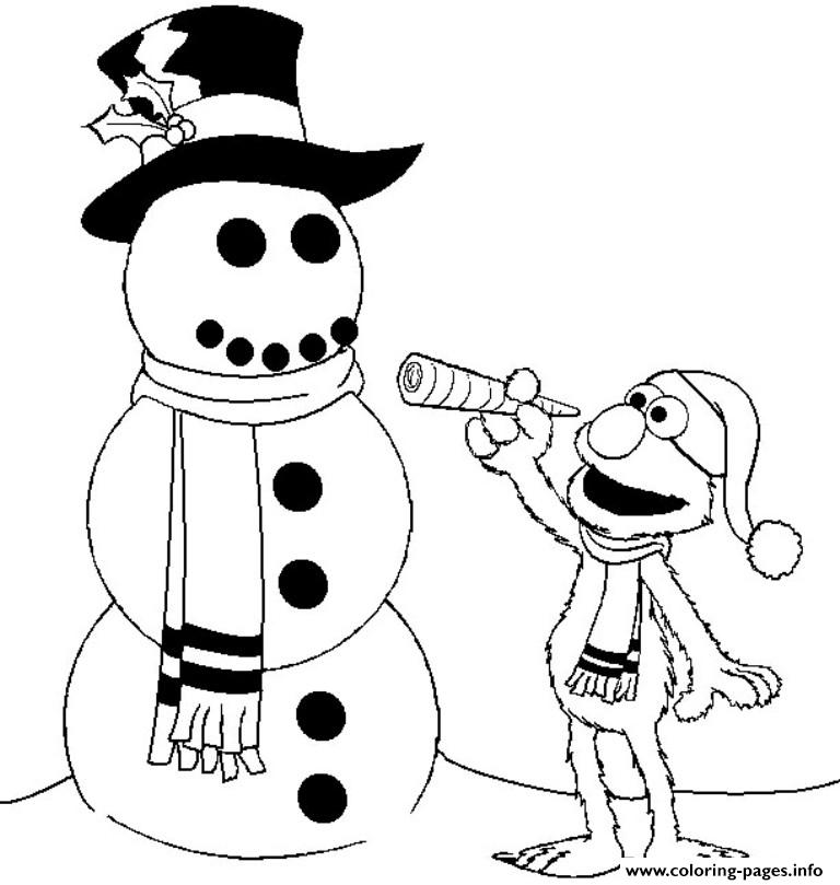 Elmo And Snowman Winter S For Kidsd2f1 coloring pages