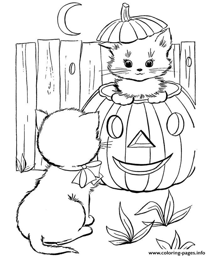 Cute Halloween Cat Coloring Page • FREE Printable PDF from ... | 820x670