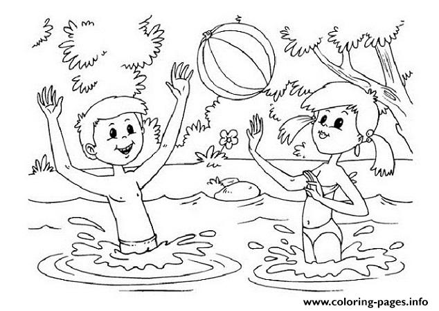 Kids Playing In A Lake A7b9 Coloring Pages