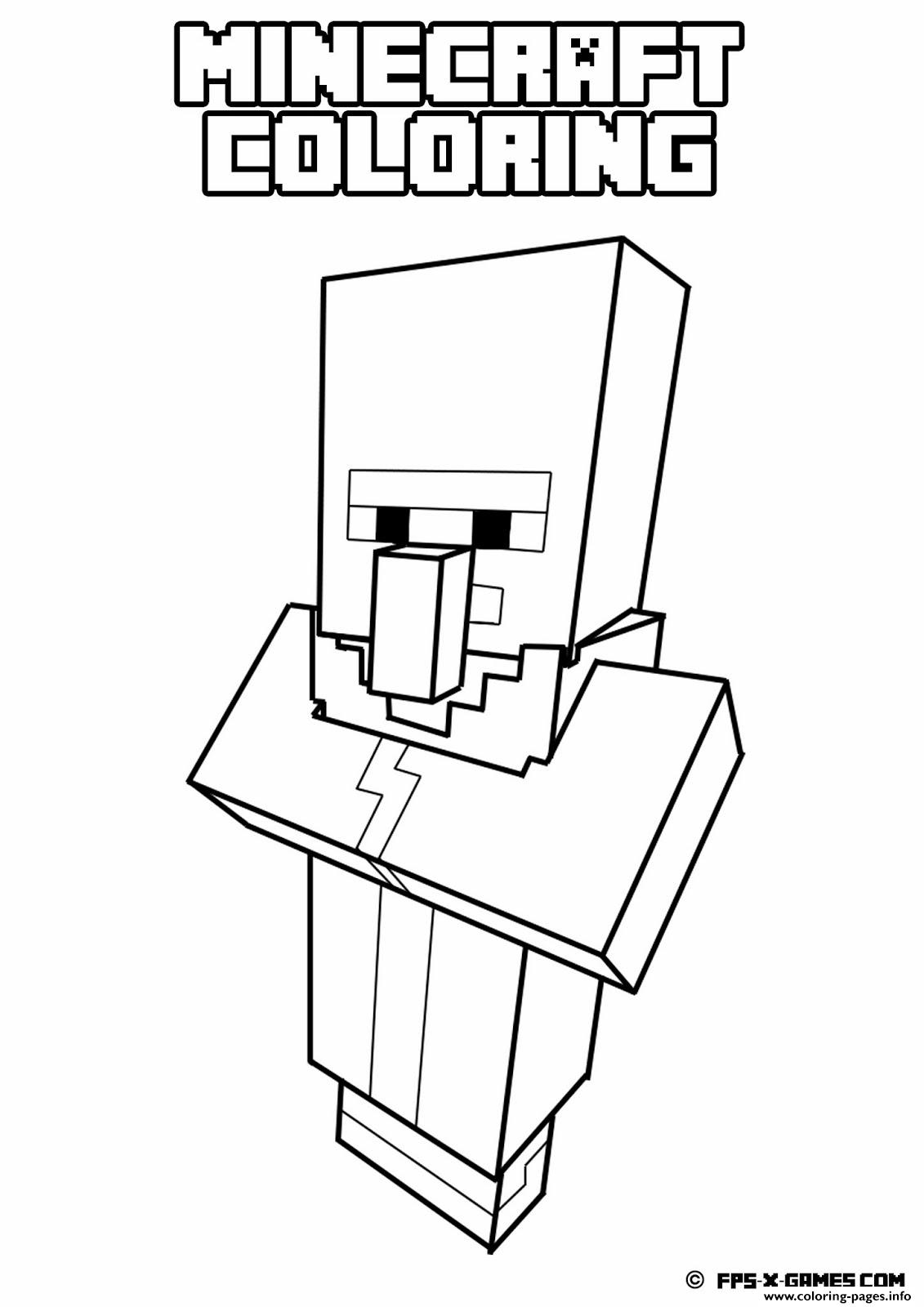 Minecraft Coloring Kids Simple Pages