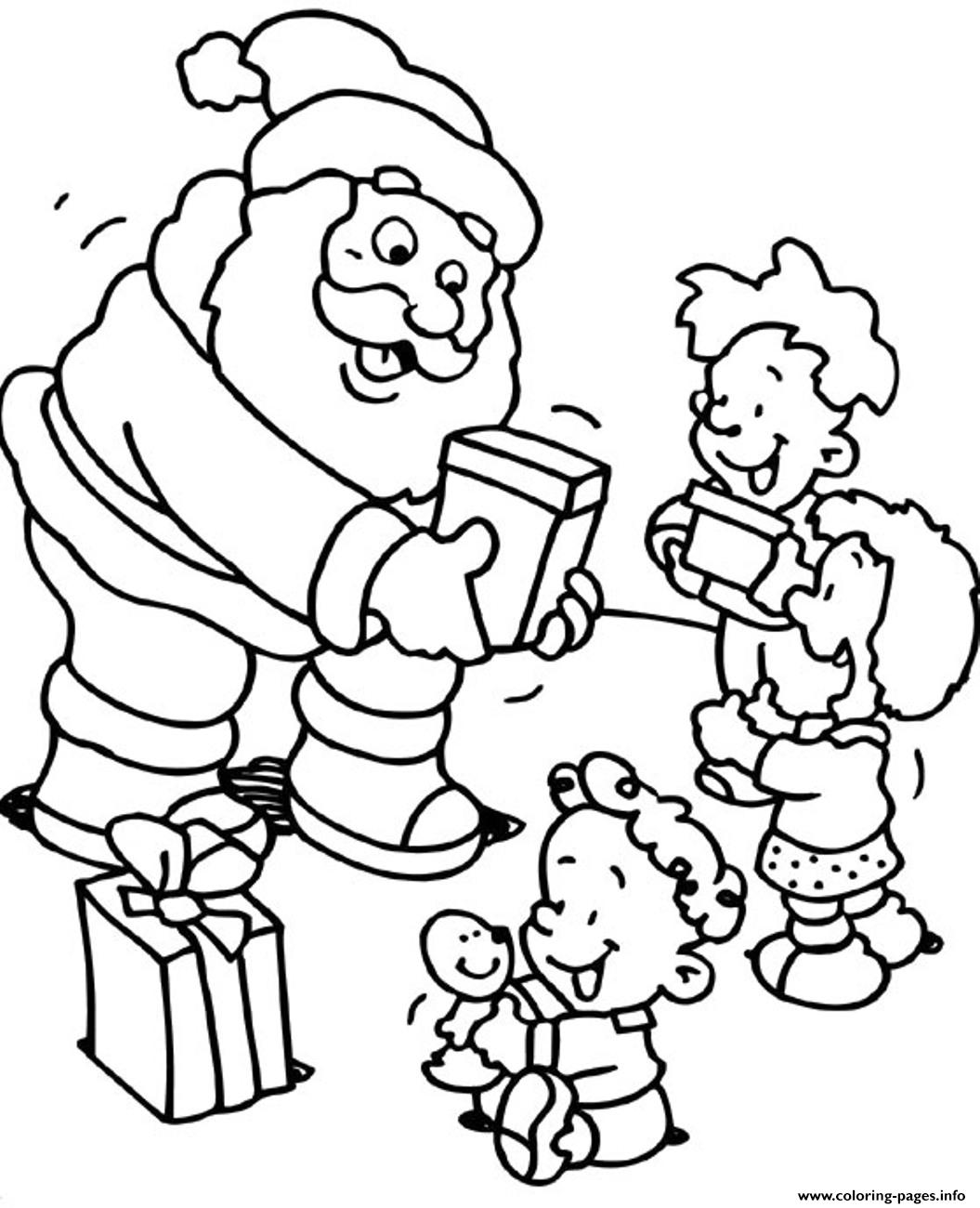 santa coloring pages for kids - christmas s for kids santa giving some gifts to kids74f2