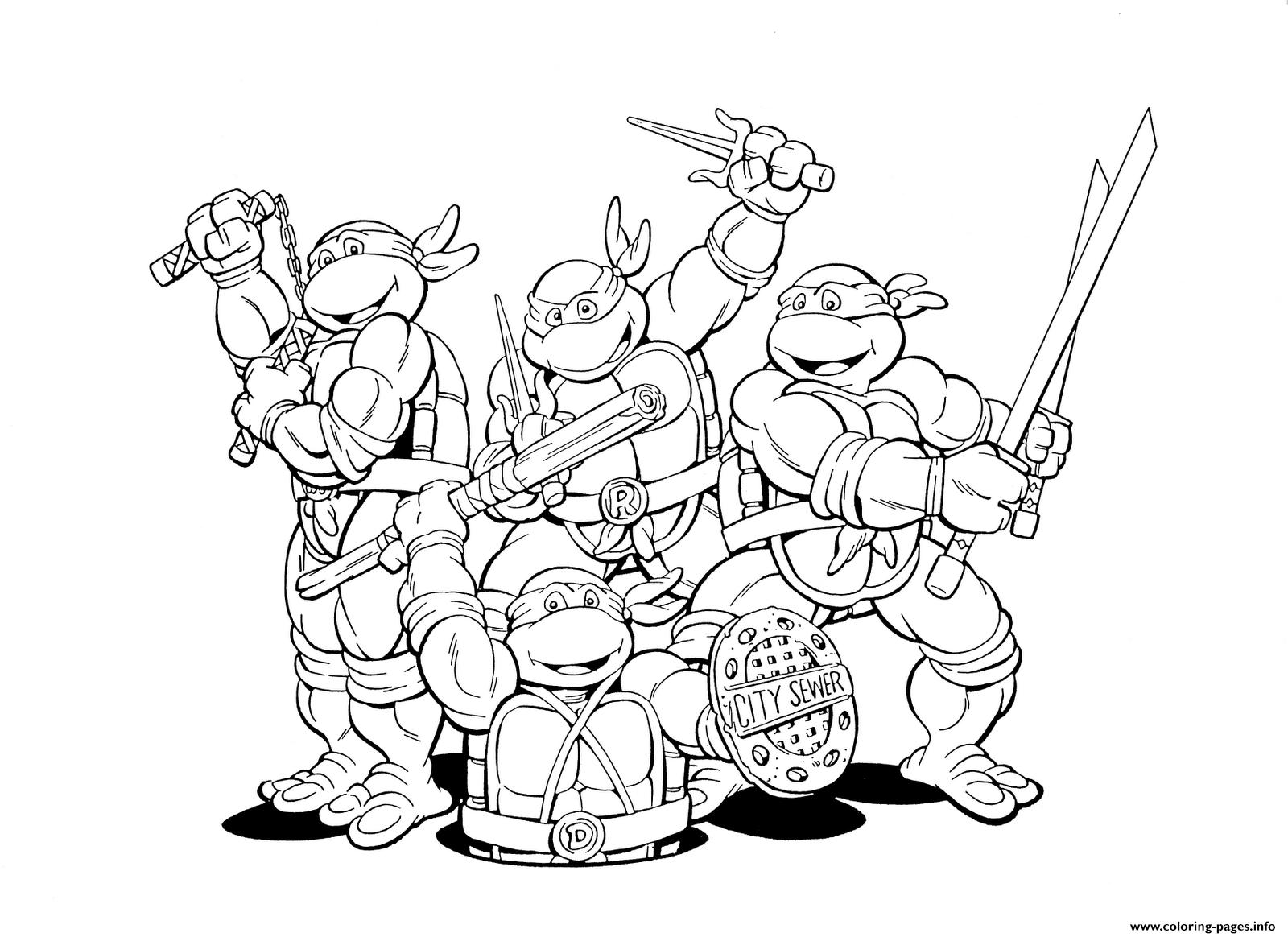 Free coloring pages superheroes printable - Kids Ninja Turtles Free Superhero S032b Coloring Pages