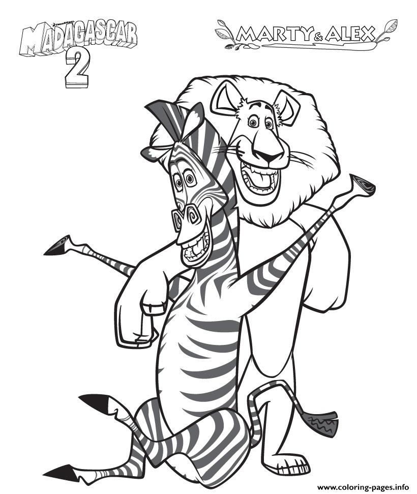 Coloring Pages For Kids Madagascar 2 Marty And Alex049f Coloring ...