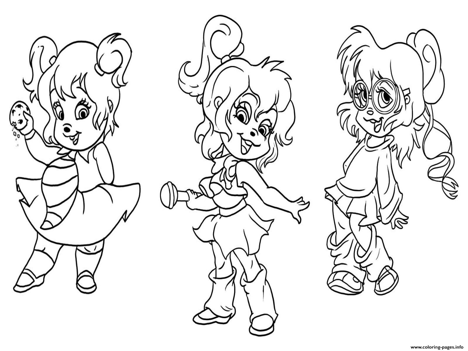 Alvin and the chipmunks chipettes coloring pages printable for Alvin coloring pages