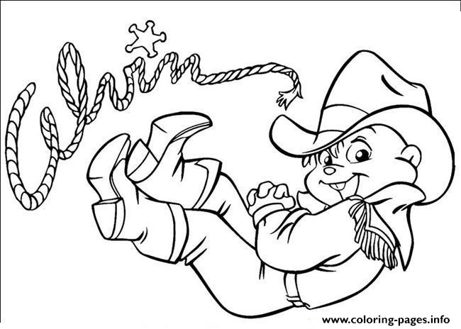 Cowboy Alvin And The Chipmunks Coloring Pages Printable