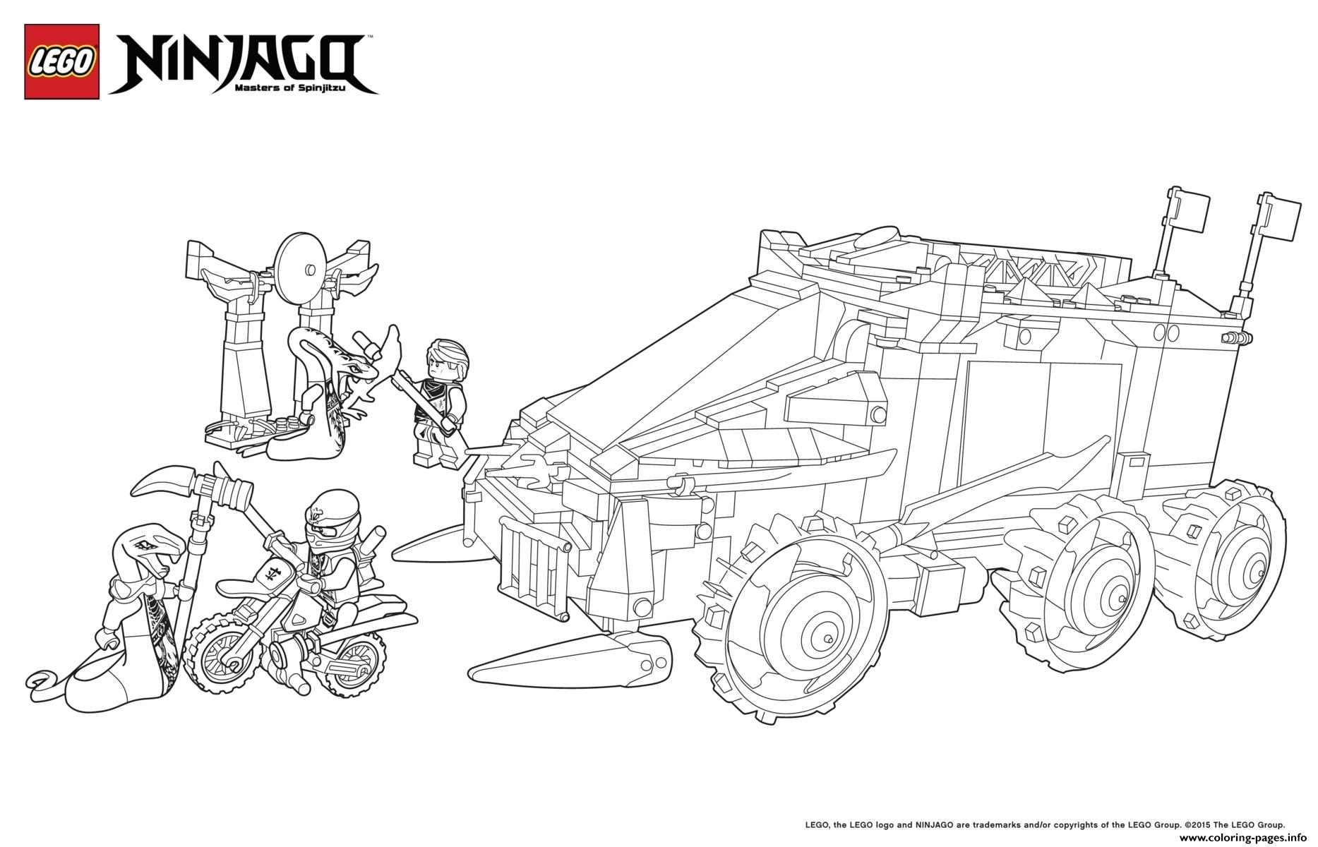 Car Tank Moto Ninjago Coloring Pages Printable