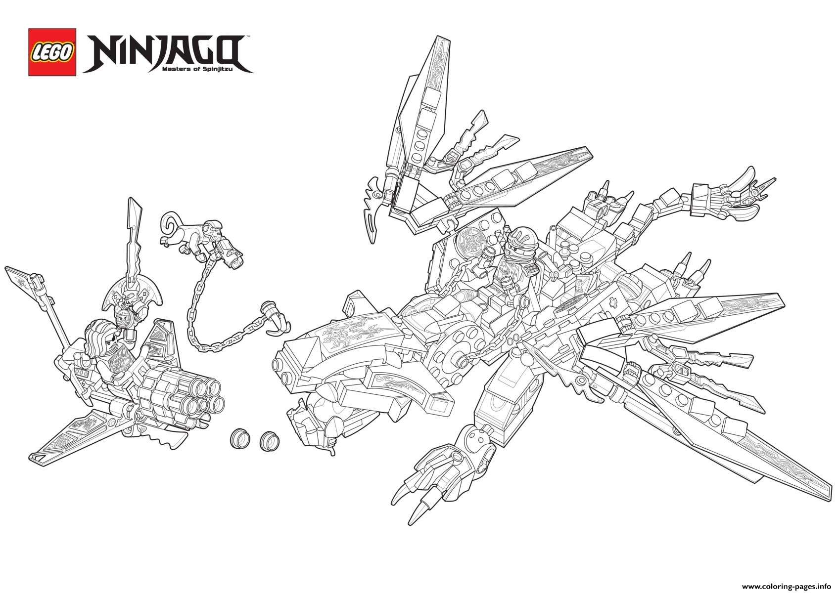 Ninjago Monster Dragon Lego Colouring Print Coloring Pages