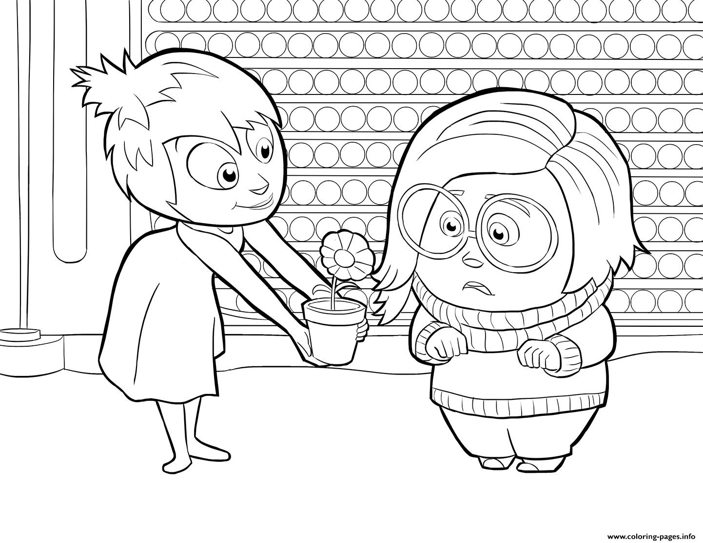 Inside out coloring pages - Joy And Sadness Inside Out Coloring Pages