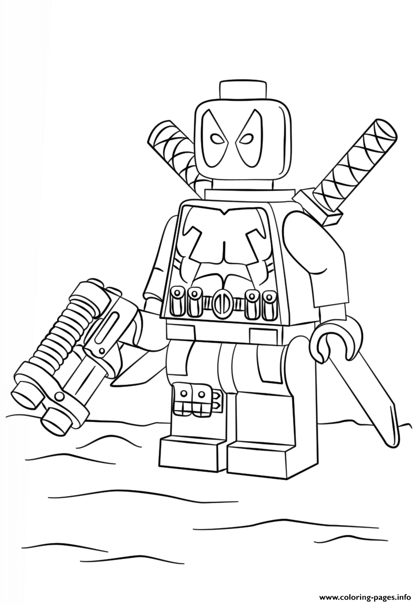 photograph relating to Printable Lego Coloring Pages called Lego Deadpool Coloring Web pages Printable