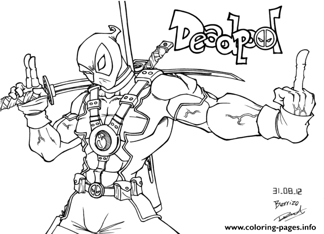 deadpool fuck you Coloring pages Printable