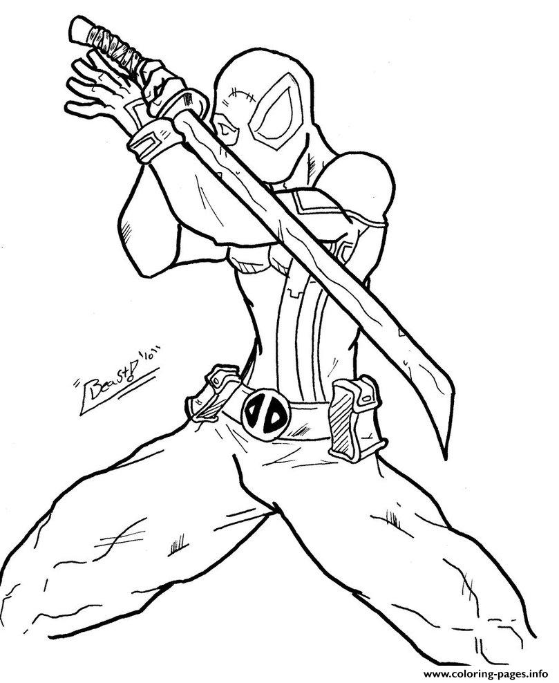 deadpool ninja coloring pages print download