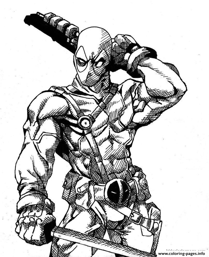 Deadpool Coloring Pages: Deadpool Details Hd Coloring Pages Printable