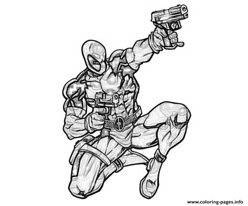 Deadpool Coloring Pages: Deadpool Marvel Shoot Coloring Pages Printable