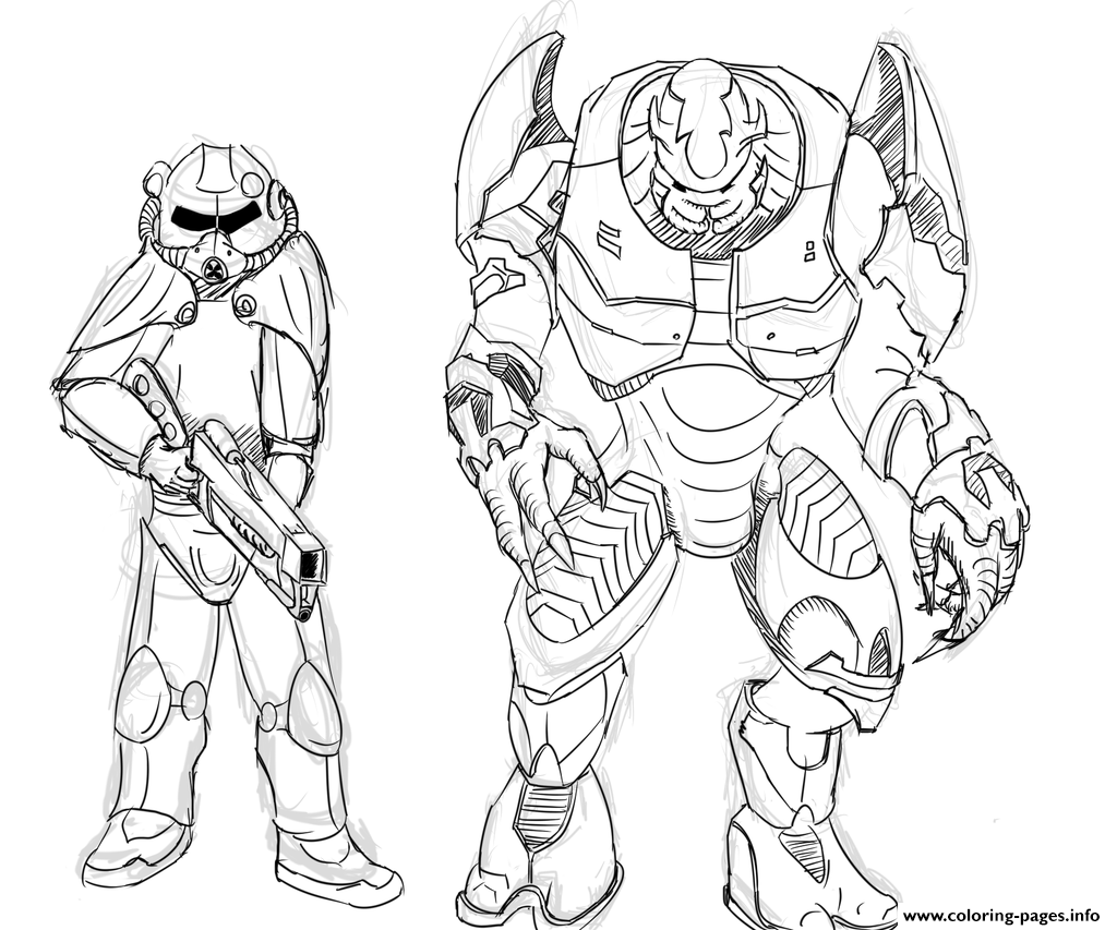 Brotherhood Of Steel And Elites From Halo By Zonalar Coloring Pages ...