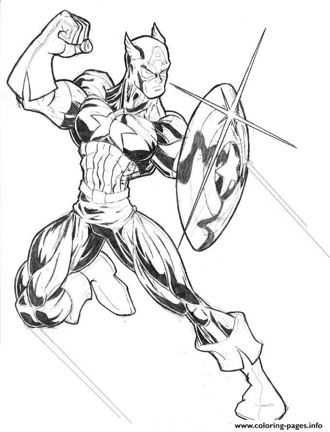 Superhero Captain America 18 coloring pages