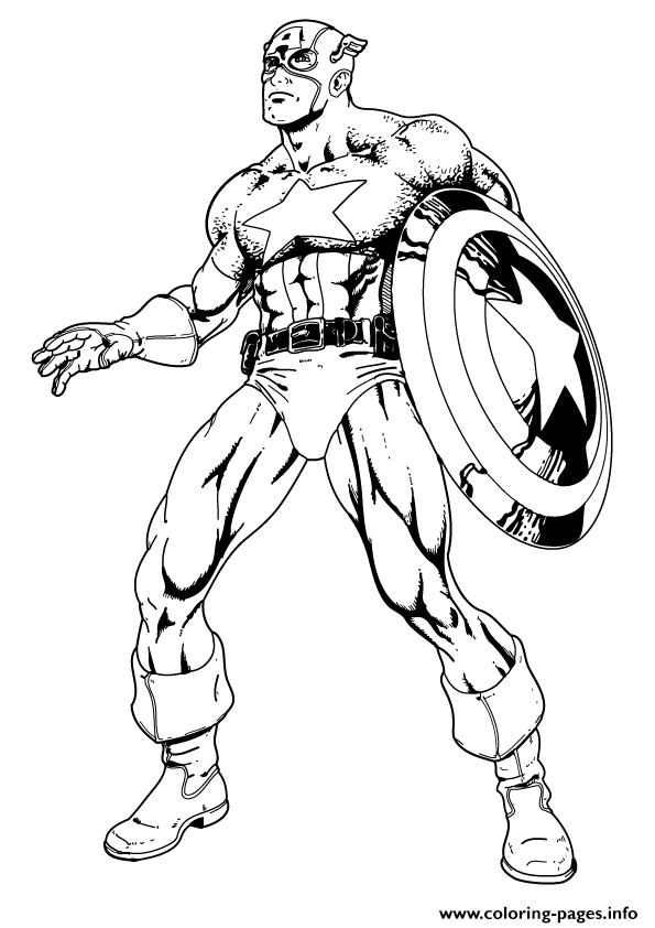 Superhero Captain America 38 coloring pages