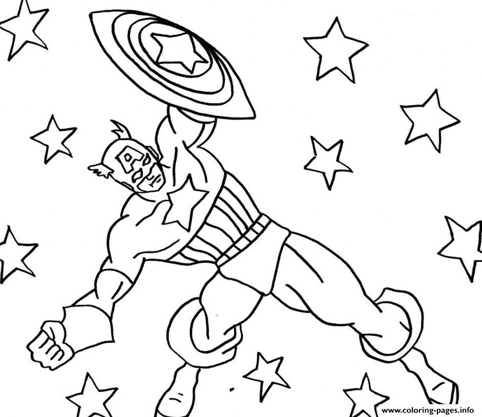 Superhero Captain America 13 coloring pages