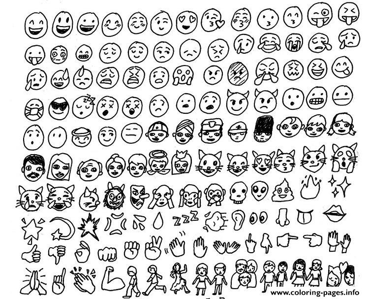 emoji emoticon list Coloring pages Printable
