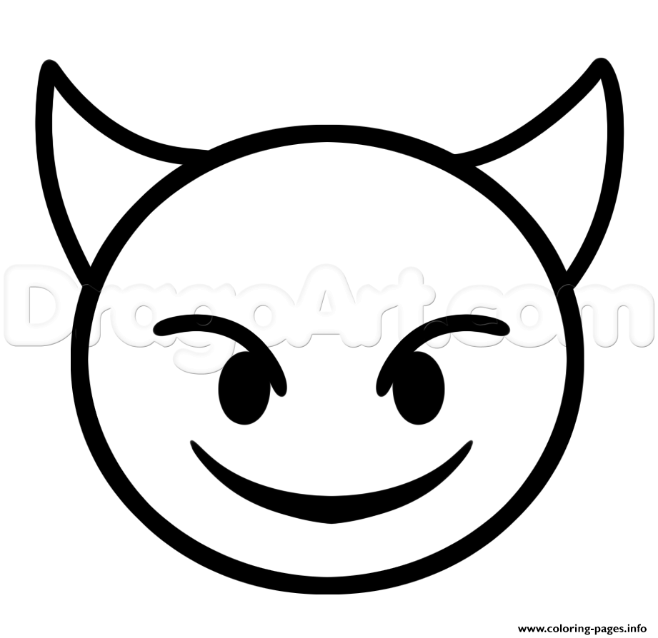 How to draw devil emoji step coloring pages printable for Emoji coloring pages to print