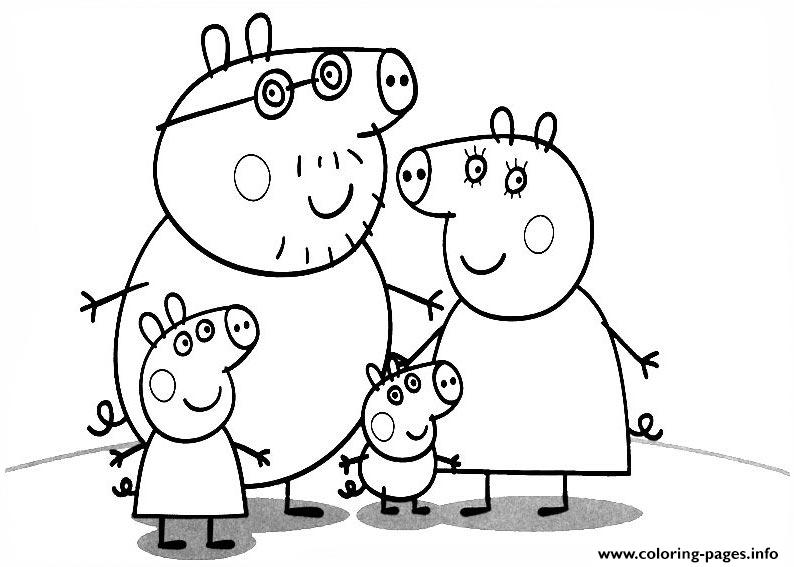 family of peppa pig coloring pages printable - Peppa Pig Coloring Pages Print