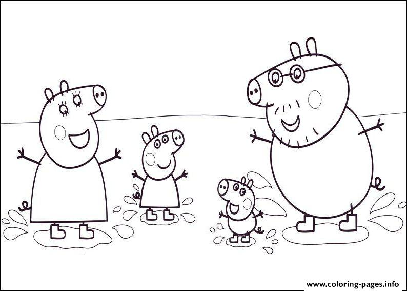 happiness family peppa pig colouring print happiness family peppa pig coloring pages - Pig Coloring Pages