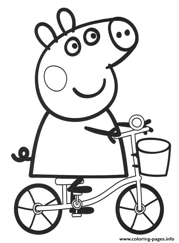 Peppa Pig Drive Bike coloring pages