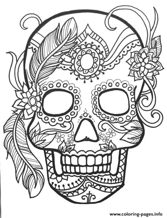 Sugar Skull Adult Flower Coloring Pages Printable Colouring Page