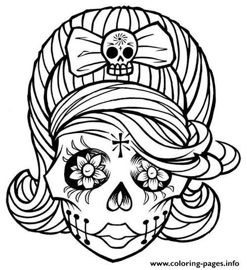 Sugar Skull Girl Coloring Pages Printable
