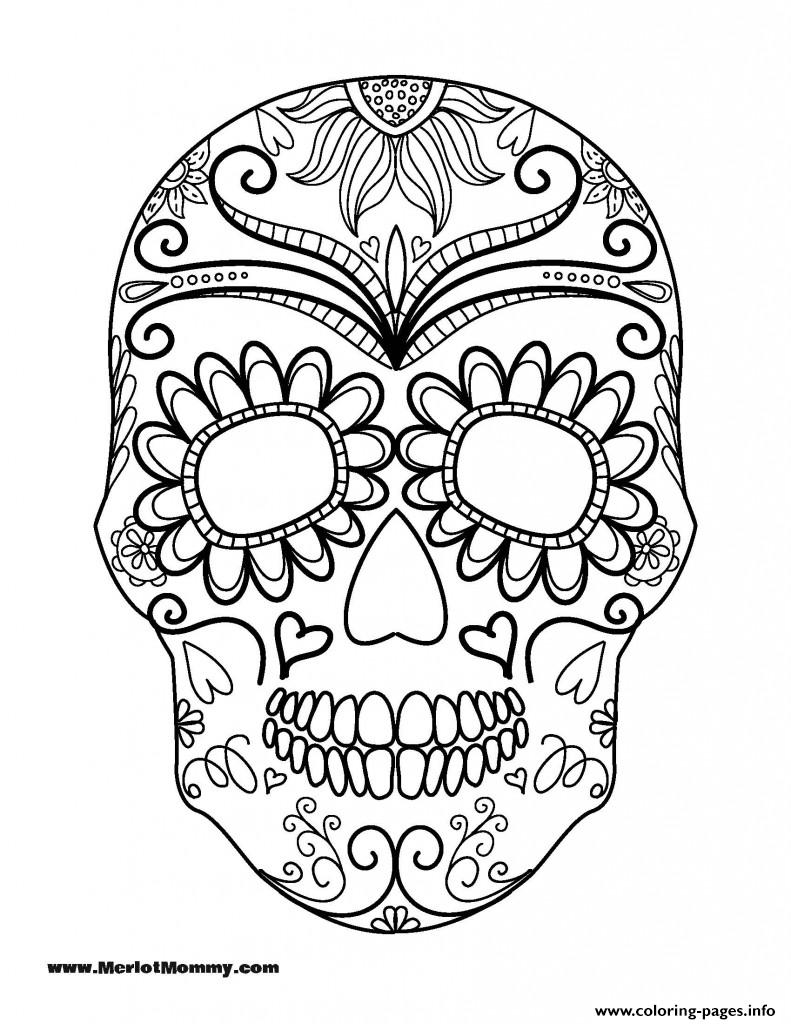 halloween coloring page sugar skull coloring pages printable - Sugar Skull Coloring Pages Print