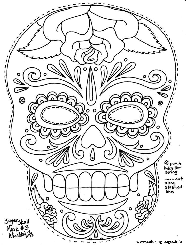 Simple Sugar Skull Hd Adult Coloring Pages Printable