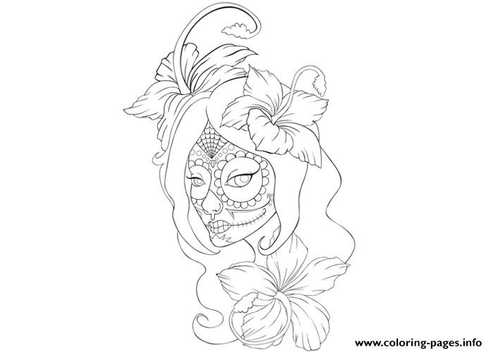girl skull tattoo coloring page coloring pages - Tattoo Coloring Books