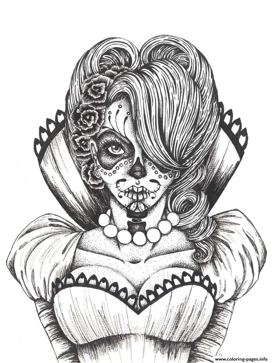 Sexy Sugar Skull Flowers Coloring Pages Printable