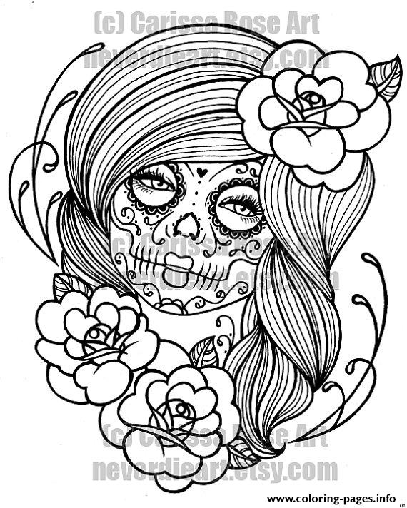 sexy woman sugar skull flowers coloring pages - Sexy Coloring Pages