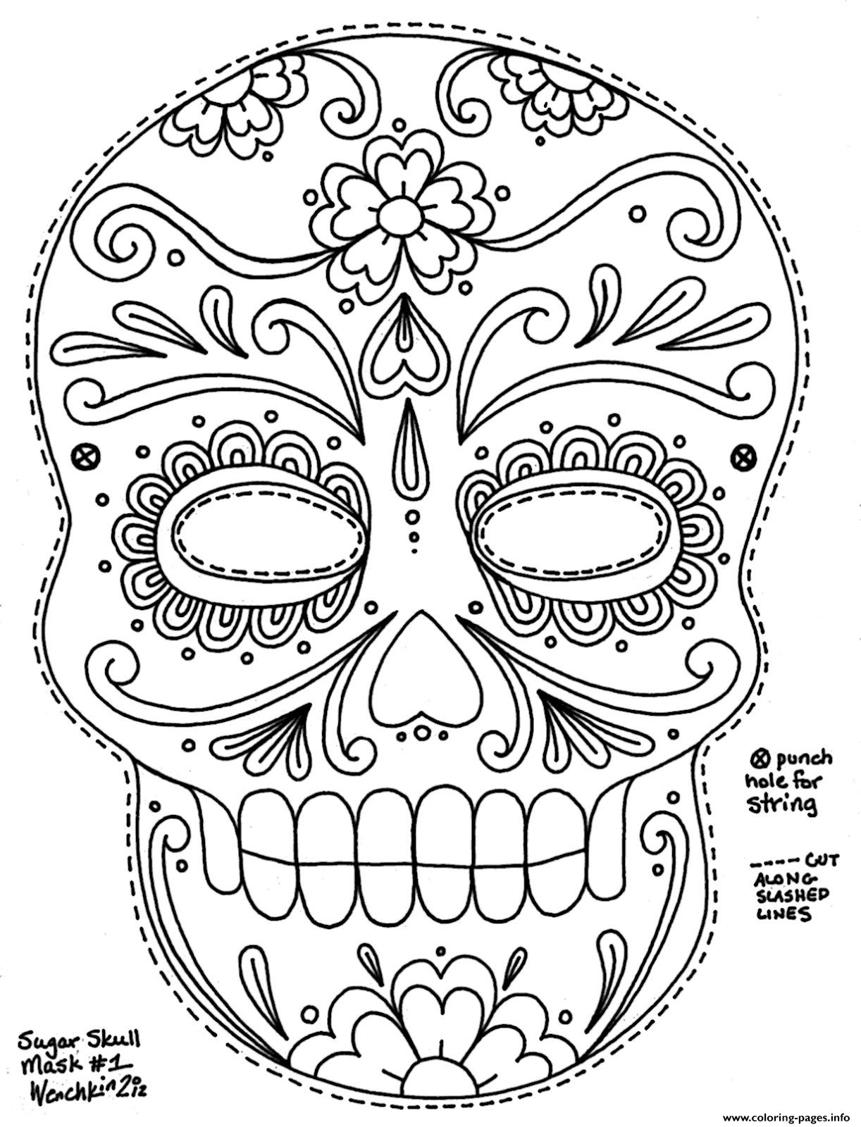 Simple Sugar Skull Hd Adult Big Size coloring pages