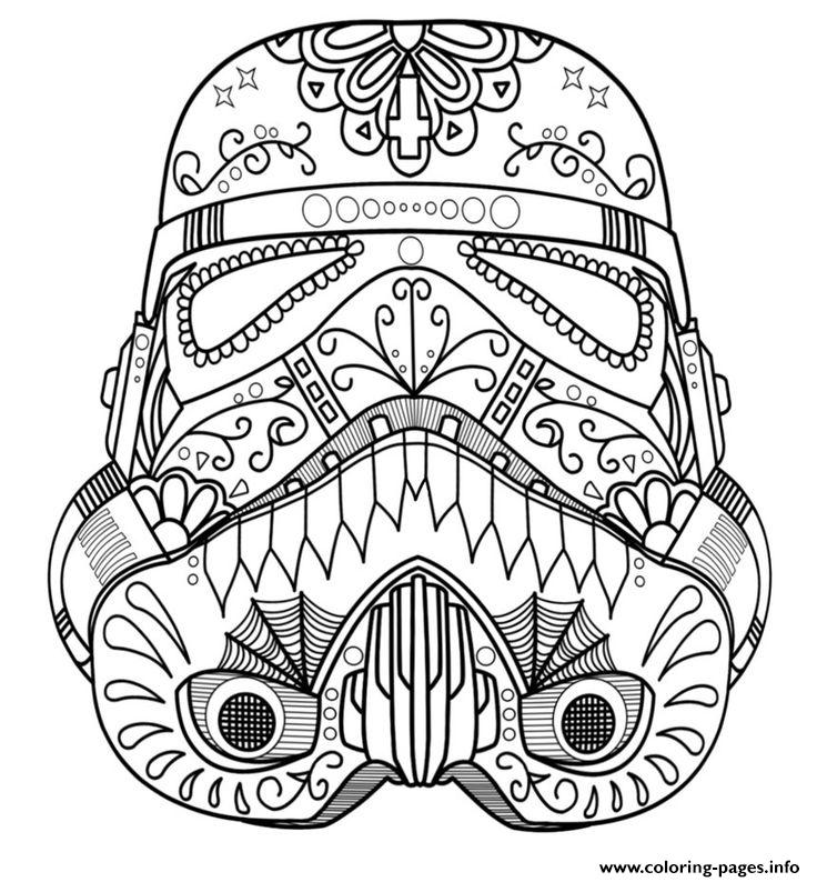 Starwars Skull Sugar Adult Coloring Pages Printable