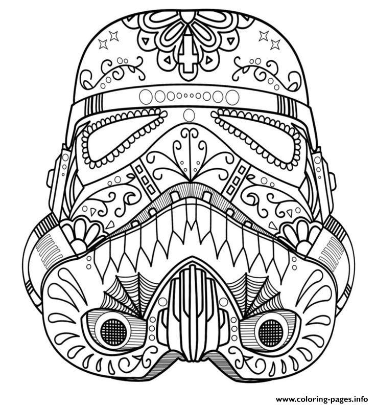 Starwars Skull Sugar Adult Coloring Pages Printable